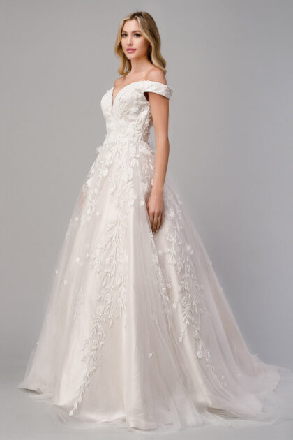 Un vestido de novia digno de una reina, con una silueta de corte A, cuello en V bajo y una hermosa cola larga con bordado, tela de tul y transparencias