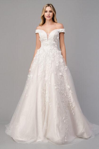 Vestido de novia Claire - Con apliques de pedrería con escarga y perlas, estilo floral en 3D - Mejores precios de vestidos de novia en Venezuela