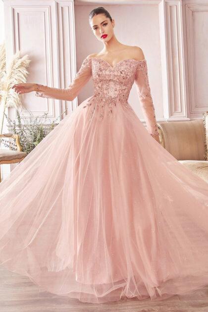 Vestido de tul brillante de corte A con capas en los hombros y escote corazón con detalles florales en canutillos