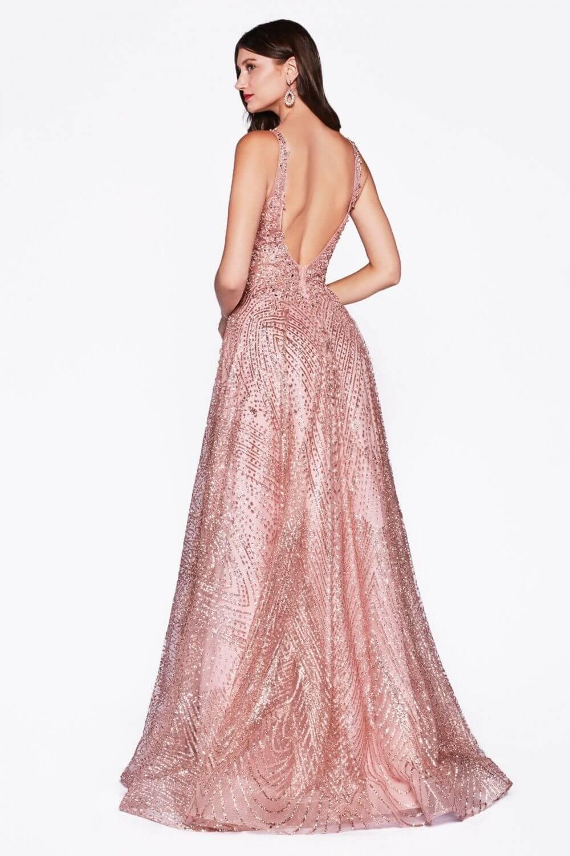 Vestido de baile sin mangas, silueta corte A y espalda en V abierta - Evening Dress Boutique - Vestidos de fiestas para ocasiones especiales