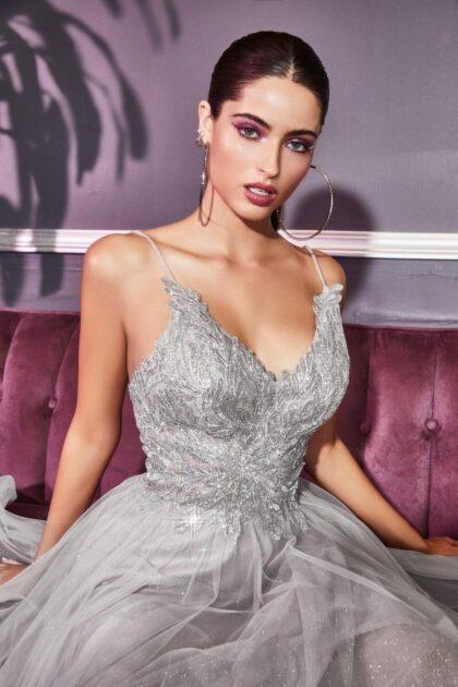 Evening Dress Boutique: Vestidos de fiesta en Venezuela con falda de tul brillante en forma de A con dobladillo de crin