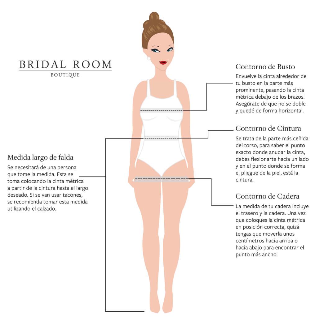 Instrucciones para medirte y conocer mejor cuál puede ser tu talla de vestido de novia en Venezuela - Bridal Room Boutique
