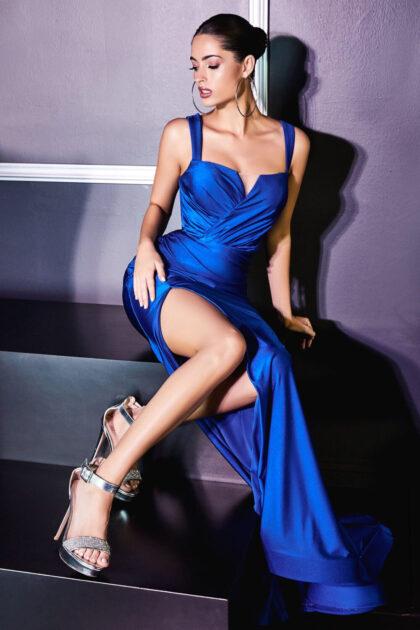 Deslumbra belleza con este vestido de fiesta navy blue color azul, Evening Dress Boutique te ofrece los mejores precios en vestidos de gala en Venezuela