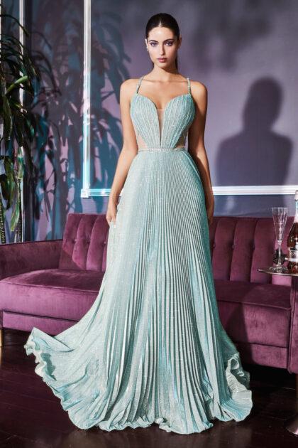 Vestido de fiesta largo de brillo metálico iridiscente con falda plisada en forma de A - Evening Dress Boutique Isla de Margarita