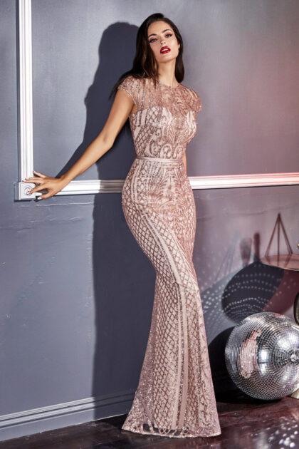 Vestido corte sirena con moderno diseño de celosía, consíguelo en nuestras tiendas boutique de la Isla de Margarita, Venezuela con Evening Dress Boutique