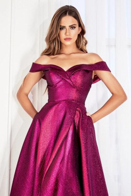 Vestido de fiesta off shoulders color magenta - Evening Dress Boutique Venezuela, tiendas de ropa para dmas en Margarita