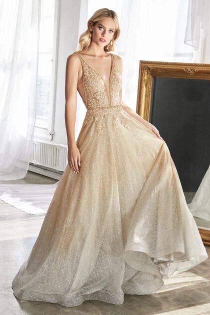 Vestido de fiesta ombré con grandiente de dorado a plateado, consigue los vestidos más sofisticados con Evening Dress Boutique Margarita, Venezuela