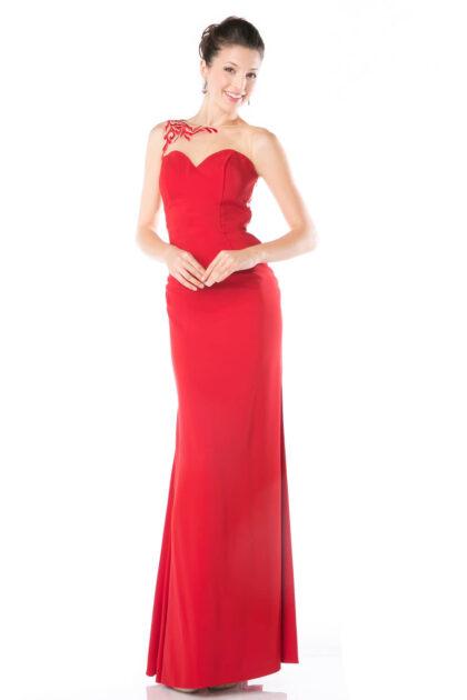 Vestido de fiesta largo con escote corazón y diseño floral asimétrico en la espalda con bordado escarpado - Evening Dress Boutique Margarita, Venezuela