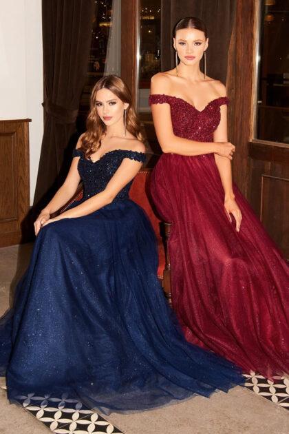Luce una imagen perfecta con este vestido de fiesta largo de tul brillante con lentejuelas y falda corte A - Evening Dress Boutique Venezuela