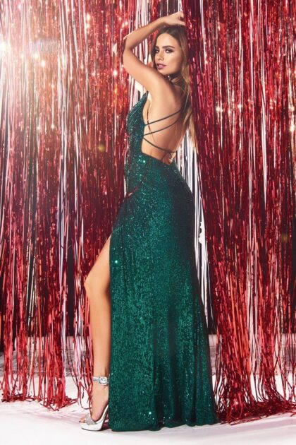 Para las amantes de los vestidos de fiesta sexy, les presentamos este espectacular vestido de gala con lentejuelas y espalda totalmente abierta - Evening Dress Boutique Venezuela