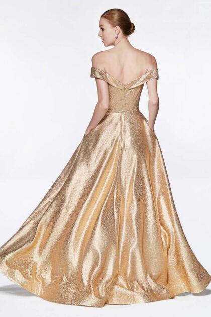Vestido de fiesta Charlotte con espalda descubierta metalizado color bronze disponible bajo pedido en Venezuela - Evening Dress Boutique