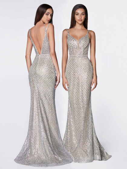 2021 Collection - Glitter pattern V-neck mermaid gown by Evening Dress Boutique, Isla Margarita, Venezuela - Long formal dresses color silver nude