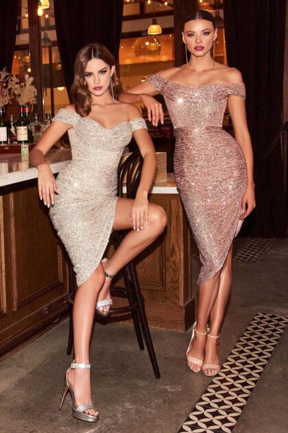 Vestidos cortos de gala en Venezuela - Evening Dress Boutique - Modelo en tela jersey stretch con lentejuelas y falda asimétrica