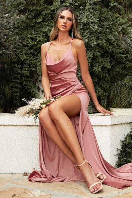 Vestido de gala Astrid en color dusty rose, disponible bajo pedido en todas las tallas, incluyendo tallas grandes plus size hasta la 6XL