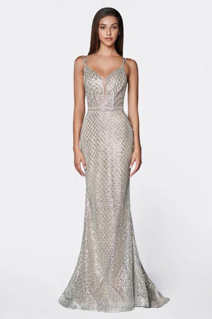Deslumbra la habitación con este vestido largo sin mangas con estampado de glitter y silueta corte sirena - Evening Dress Boutique Margarita
