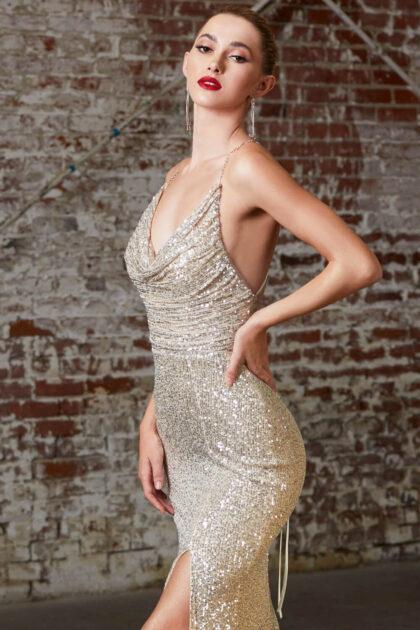 Luce perfecta con este vestido largo de lentejuelas, sin mangas y espalda corsé - Evening Dress Boutique, Isla de Margarita