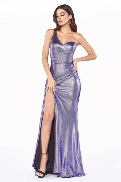 Vestido de fiesta Kilina - Escote corazón asimétrico, espalda descubierta y abertura frontal - Violeta metalizado