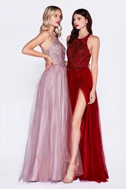 Te enamorarás de este vestido de fiesta de tul con escote halter adornado y aberturas laterales en la falda - Evening Dress Boutique