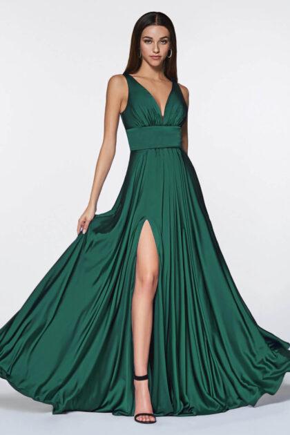 Vestido de fiesta largo con falda acampanada hasta el suelo, escote en V - Evening Dress Boutique