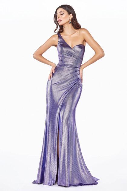 Vestido de fiesta Kilina - vestido largo entalla con estampado violeta metalizado y abertura en la pierna Escote corazón fruncido