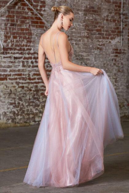 Vestido evasé a capa con falda de tul y corpiño con apliques de encajes adornados dulcemente - Evening Dress Boutique
