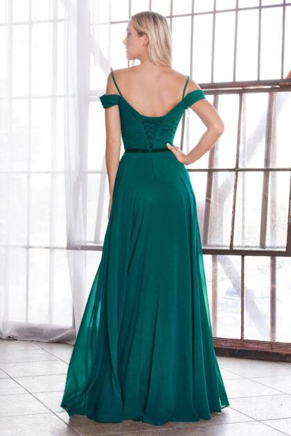 Vestido verde esmeralda con espalda descubierta en forma ovalada con corsé - Evening Dress Boutique, exclusiva ropa para damas