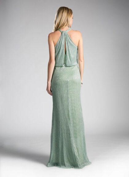 Vista trasera del vestidos de fiesta Hannele en color verde manzana - Ideal para la madre de la novia en una boda de Venezuela